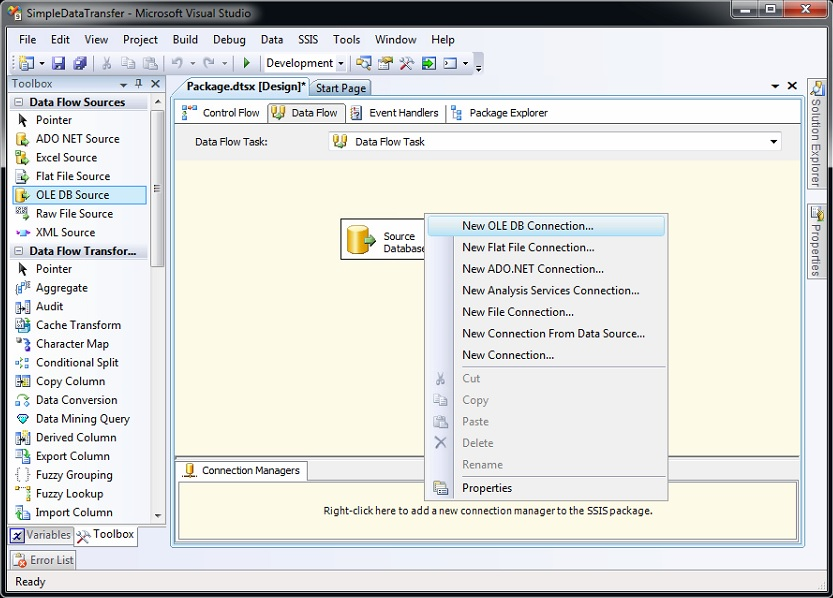 SSIS | database connection using connection manager